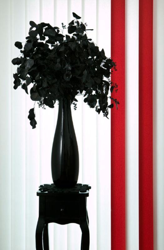 Hochwertiger Sonnenschutz, Sichtschutz und Lichtschutz - Lamellenvorhang - Senkrechtlamellen - Senkrechtlamellen Wohnambiente zweifarbig Weiß-Rot - Dr. Haller + Co. - Selastore®