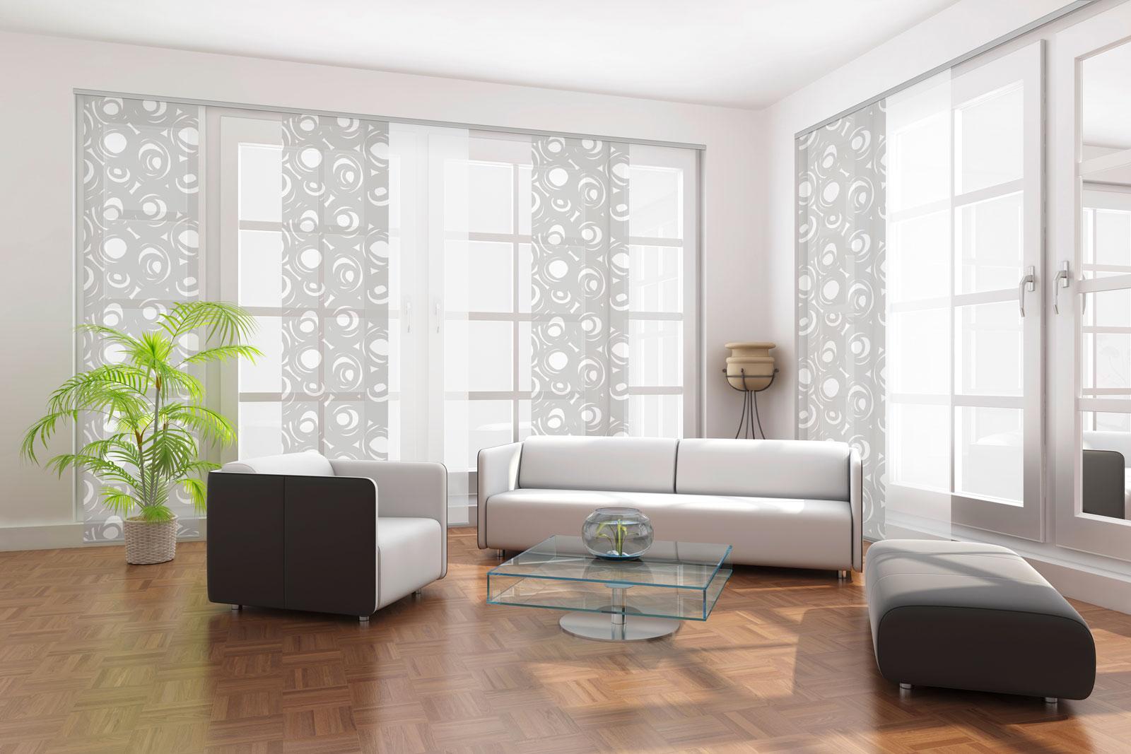 Hochwertiger Sonnenschutz, Sichtschutz und Lichtschutz - Lamellenvorhang - Senkrechtlamellen - Flächenvorhänge bedruckt kombiniert mit Weiß bodenlang - Dr. Haller + Co. - Selastore®