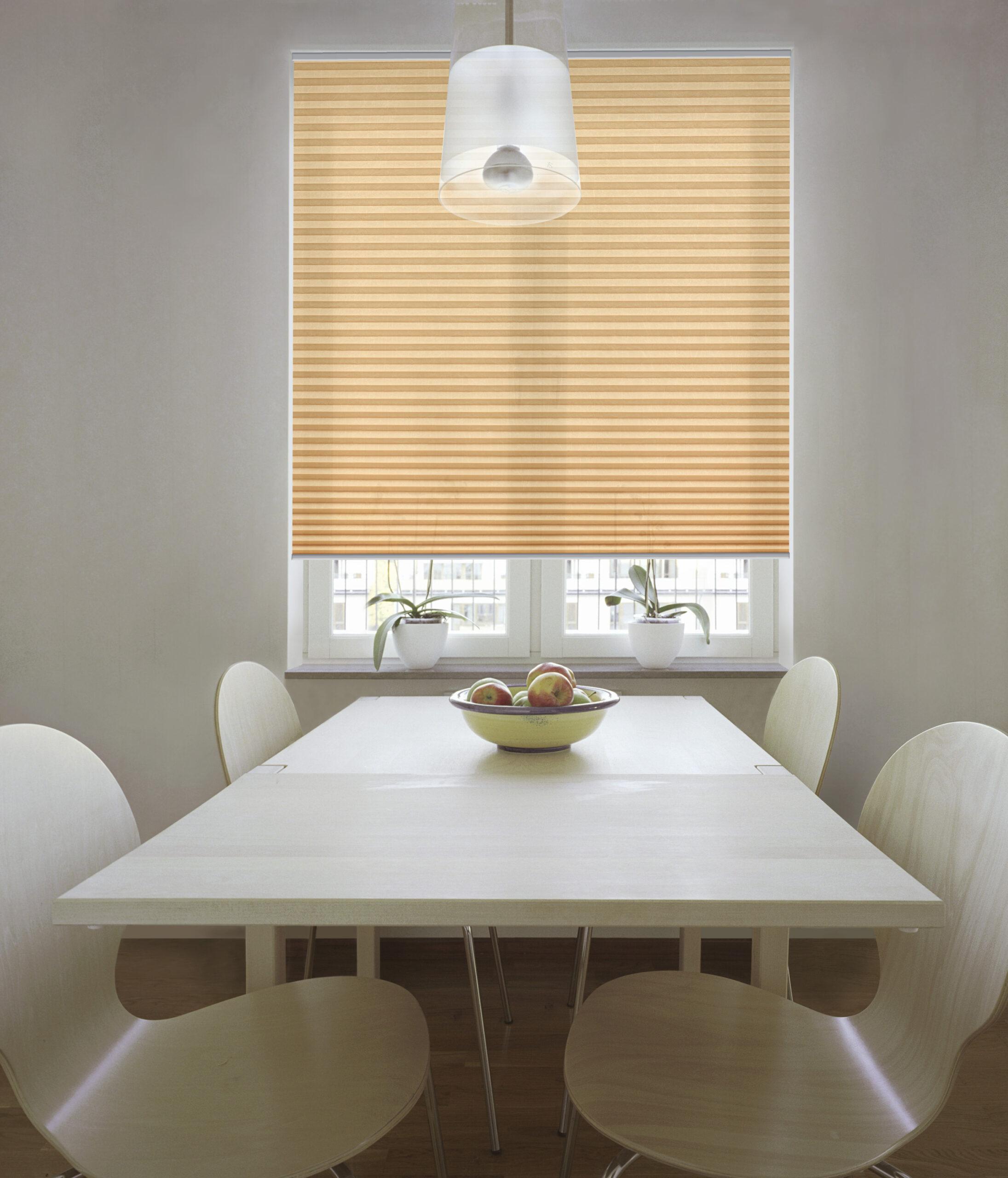 Hochwertiger Sonnenschutz, Sichtschutz und Lichtschutz - Oranges Plissee - Plisseerollo - Dr. Haller + Co. - Selastore®