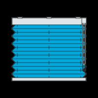 Freihängendes Plissee mit Kettenzug von oben nach unten laufend (Plisseetyp P1800)